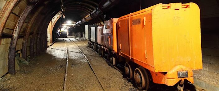 Gold mine with wagons