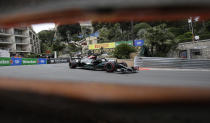 Mercedes driver Lewis Hamilton of Britain steers his car during the third free practice for Sunday's Formula One race, at the Monaco racetrack, in Monaco, Saturday, May 22, 2021. (AP Photo/Luca Bruno)