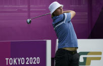 Finland's Sami Valimaki watches his shot on the drive range during a practice session of the men's golf event at the 2020 Summer Olympics, Tuesday, July 27, 2021, at the Kasumigaseki Country Club in Kawagoe, Japan, (AP Photo/Matt York)