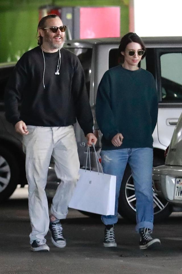 Joaquin Phoenix and Rooney Mara, out together on Saturday, have been going strong for more than a year. (Photo: Backgrid)