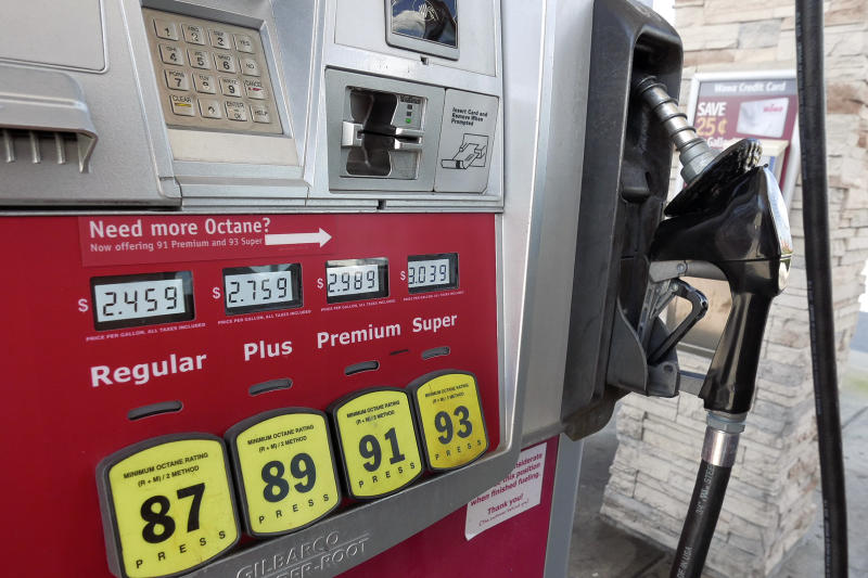 In this Tuesday, Sept. 17, 2019 photo, a gas pump reflecting current prices is seen in Orlando, Fla. (AP Photo/John Raoux)