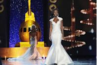<p>Miss Colorado Shannon Patilla wore a stunning white gown. The mermaid-style cut and shaped collar made the look extra unique.</p>