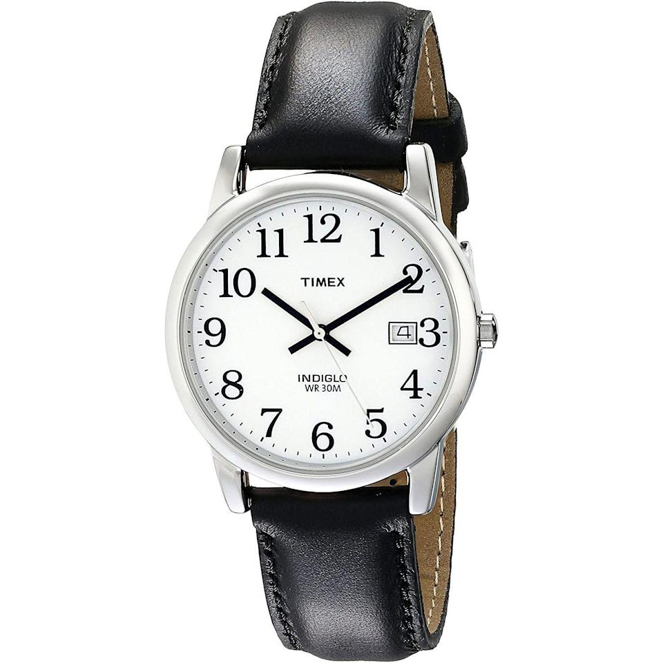 """<p><strong>Timex</strong></p><p>amazon.com</p><p><strong>$29.59</strong></p><p><a href=""""https://www.amazon.com/dp/B000AYYIYU?tag=syn-yahoo-20&ascsubtag=%5Bartid%7C10054.g.36755392%5Bsrc%7Cyahoo-us"""" rel=""""nofollow noopener"""" target=""""_blank"""" data-ylk=""""slk:Shop Now"""" class=""""link rapid-noclick-resp"""">Shop Now</a></p><p>A watch that doesn't require you to break out the cheaters to check the time. </p>"""