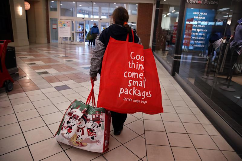 BRAINTREE , MA - NOVEMBER 29: Anne Gilman, of Dracut, departs South Shore Plaza in Braintree, MA after shopping on Black Friday, Nov. 29, 2019. (Photo by Craig F. Walker/The Boston Globe via Getty Images)