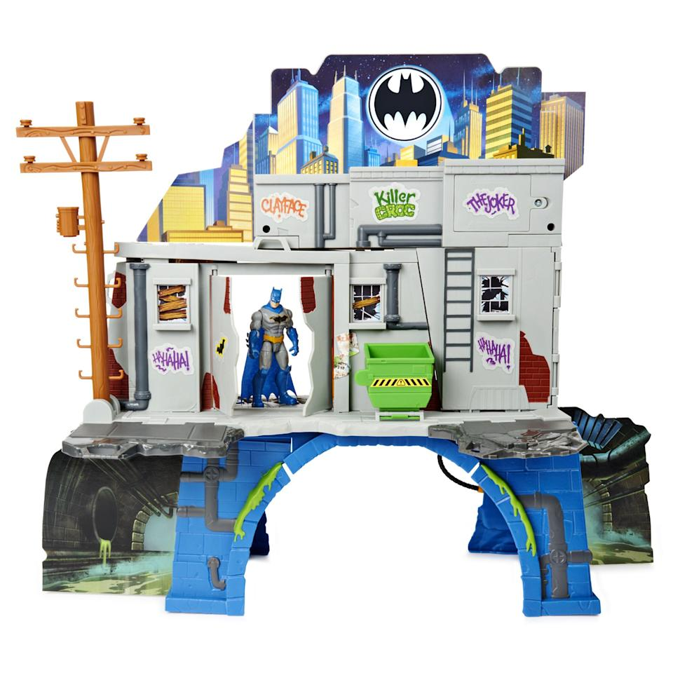 """<p><strong>Batman</strong></p><p>walmart.com</p><p><strong>$37.76</strong></p><p><a href=""""https://go.redirectingat.com?id=74968X1596630&url=https%3A%2F%2Fwww.walmart.com%2Fip%2F470614280&sref=https%3A%2F%2Fwww.womansday.com%2Flife%2Fg34428616%2Fnew-toys-2020%2F"""" rel=""""nofollow noopener"""" target=""""_blank"""" data-ylk=""""slk:SHOP NOW"""" class=""""link rapid-noclick-resp"""">SHOP NOW</a></p><p>This three-tiered Batman play set will be at the top of every superhero-obsessed kid's Christmas list. On one side, you can play in Gotham City, and on the other, you can hole up in the Batcave. Thanks to the moveable parts and tiers, you can create a ton of different adventures with just one play set. <em>Ages 4+</em></p>"""