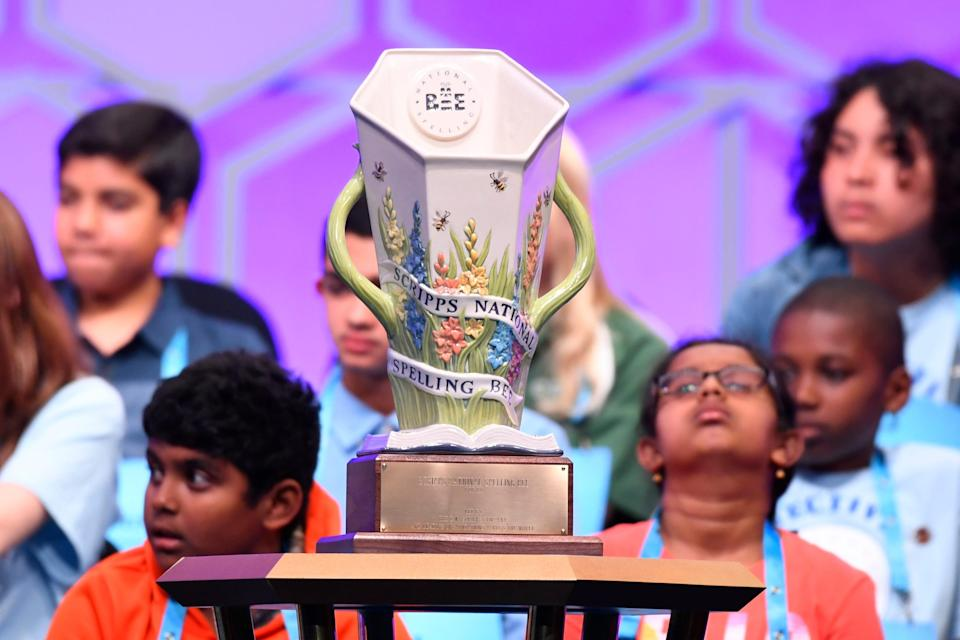 """The  """"Scripps Cup,"""" the first custom-designed trophy for the spelling bee's 90-year history on display during the 2019 Scripps National Spelling Bee."""