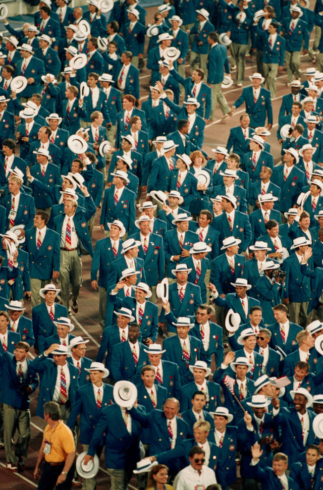 The USA Olympic Team parading on the track at the Opening Ceremony for the 1992 Summer Olympic Games at the Estadi Olimpic de Montjuic, Barcelona, 25th July 1992. (Photo by Mike Hewitt/Getty Images)