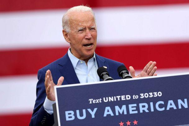 PHOTO: Democratic presidential nominee and former Vice President Joe Biden delivers remarks outside the United Auto Workers Region 1 offices on Sept. 09, 2020, in Warren, Mich. (Chip Somodevilla/Getty Images)