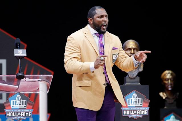 Ray Lewis was inducted into the Pro Football Hall of Fame in 2018. (Getty Images)