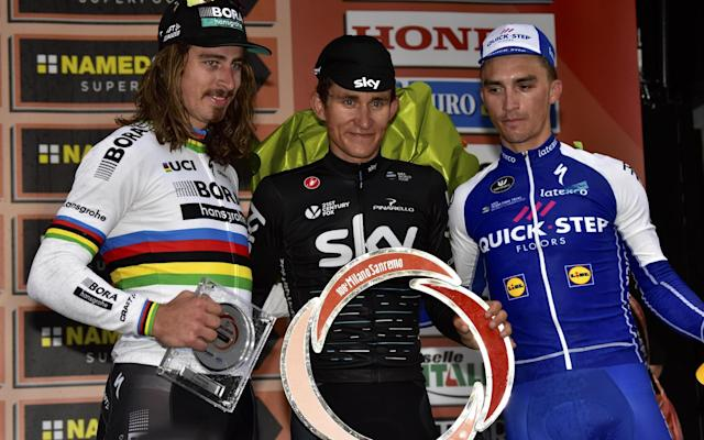 Peter Sagan (pictured, left to right, in 2017), Michal Kwiatkowski and Julian Alaphilippe are all capable winners at Milan-Sanremo - ANSA