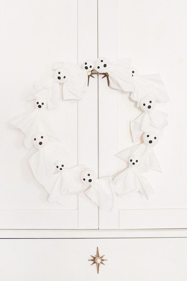"""<p>Not all DIY decorations have to be complicated. This one's as simple as they come—but its """"wow"""" factor is no less intense.</p><p><strong>Get the tutorial at <a href=""""https://www.handmadecharlotte.com/halloween-ghost-wreath/"""" rel=""""nofollow noopener"""" target=""""_blank"""" data-ylk=""""slk:Handmade Charlotte"""" class=""""link rapid-noclick-resp"""">Handmade Charlotte</a>.</strong></p><p><strong><a class=""""link rapid-noclick-resp"""" href=""""https://go.redirectingat.com?id=74968X1596630&url=https%3A%2F%2Fwww.walmart.com%2Fip%2FSharpie-Fine-Point-Permanent-Markers-Black-8-Count%2F37693388&sref=https%3A%2F%2Fwww.thepioneerwoman.com%2Fholidays-celebrations%2Fg32894423%2Foutdoor-halloween-decorations%2F"""" rel=""""nofollow noopener"""" target=""""_blank"""" data-ylk=""""slk:SHOP PERMANENT MARKERS"""">SHOP PERMANENT MARKERS</a><br></strong></p>"""