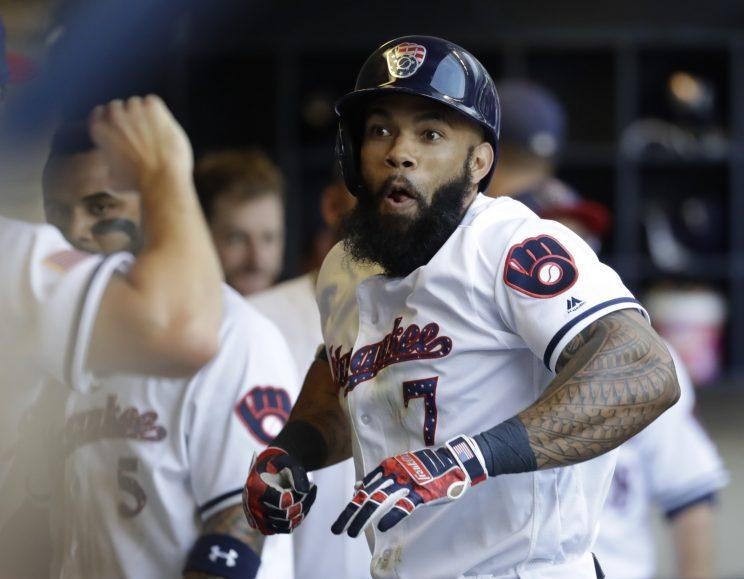Eric Thames has been a key acquisition for the Brewers. (AP Photo)
