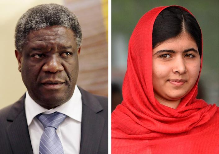 Congolese doctor Denis Mukwege and Pakistani rights campaigner Malala Yousafzai are tipped as possible winners of the Nobel Peace Prize (AFP Photo/Kenzo Tribouillard / Paul Ellis)