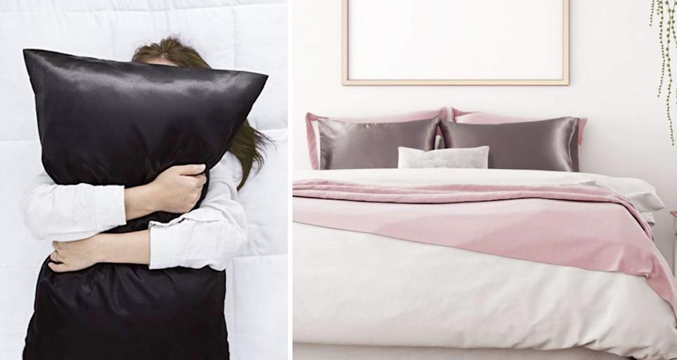 """Gentle on your skin, these pillowcases create less friction for your hair, so you don't have to wake up 10 minutes early every morning to work through your tangles. It's also ridiculously cooling in the summer months. Plus, <strong>alot of reviewers swear by these for acne prevention.</strong><br /><br /><strong>Promising review:</strong>""""These have been absolutely amazing.<strong>I have suffered with acne for so long and have tried almost everything to get rid of it.</strong>At one point I was washing my cotton pillow cases daily. Then I decided to give the silk pillow case fad a try and for the price I figured wouldn't matter if they did t do anything. I have been amazed by the results.<strong>Within a week of using these my acne completely cleared. On top of that my hair is less tangled in the morning</strong>and I don't wake up with creases in my face from where I lay face down on the pillow. Washes really well and no shrinkage. Absolute game-changer and will be ordering more."""" — <a href=""""https://www.amazon.com/gp/customer-reviews/R2U29TU6N3UGMQ?&linkCode=ll2&tag=huffpost-bfsyndication-20&linkId=26bf803faad906bdab38bfa75880da60&language=en_US&ref_=as_li_ss_tl"""" target=""""_blank"""" rel=""""nofollow noopener noreferrer"""" data-skimlinks-tracking=""""5738624"""" data-vars-affiliate=""""Amazon"""" data-vars-href=""""https://www.amazon.com/gp/customer-reviews/R2U29TU6N3UGMQ?tag=bfemmalord-20&ascsubtag=5738624%2C24%2C35%2Cmobile_web%2C0%2C0%2C0"""" data-vars-keywords=""""cleaning"""" data-vars-link-id=""""0"""" data-vars-price="""""""" data-vars-retailers=""""Amazon"""">Rebecca Bradley<br /><br /></a><strong>Get a set of two from Amazon for<a href=""""https://www.amazon.com/Bedsure-Satin-Pillowcase-Hair-2-Pack/dp/B07MH8WN23?&linkCode=ll1&tag=huffpost-bfsyndication-20&linkId=ed5d17dc7f38306f683a107e64028f6a&language=en_US&ref_=as_li_ss_tl"""" target=""""_blank"""" rel=""""nofollow noopener noreferrer"""" data-skimlinks-tracking=""""5738624"""" data-vars-affiliate=""""Amazon"""" data-vars-asin=""""B07BNZWG17"""" data-vars-href=""""https://www.amazon.com/dp/B0"""