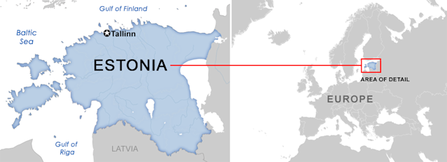 Estonia, once part of the Soviet Union, borders the Baltic Sea and Gulf of Finland. With more than 1,500 islands, its diverse terrain spans rocky beaches, old-growth forest and many lakes. (Map: Yahoo News)