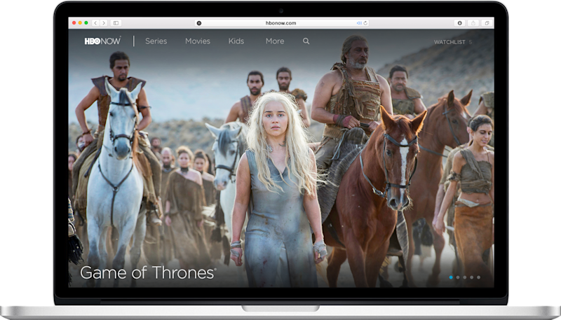 "An HBO Now landing screen with a scene from ""Game of Thrones,"" displayed on a laptop"