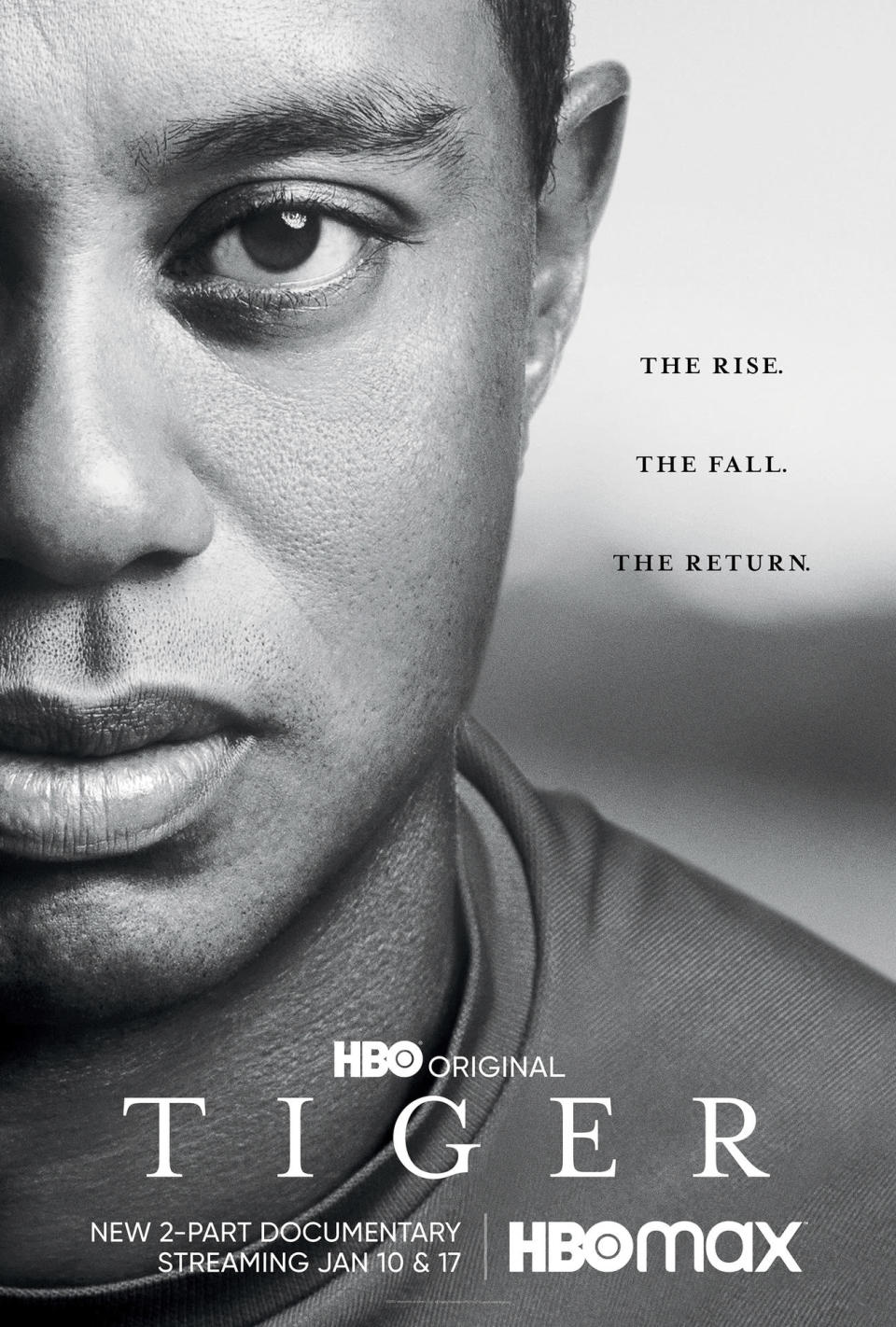 "This image released by HBO shows art for ""Tiger,"" a two part documentary about golfer Tiger Woods premiering Jan. 10. (HBO via AP)"