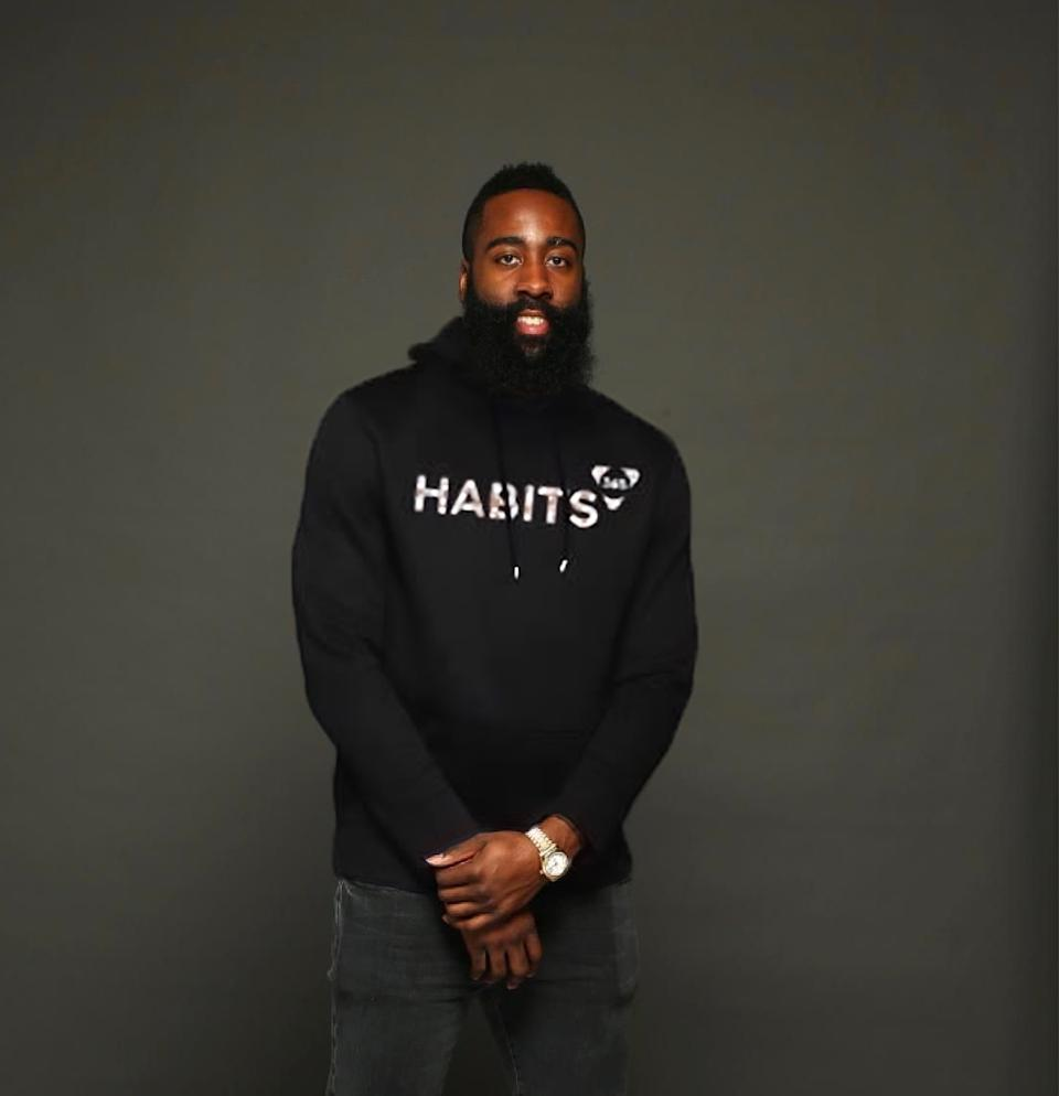 NBA All-Star James Harden poses in a habits 365 hoodie.