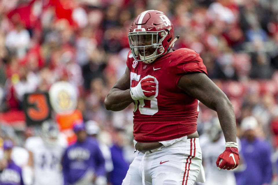 Alabama defensive lineman Christian Barmore is the next star up front for the Tide. (AP Photo/Vasha Hunt)