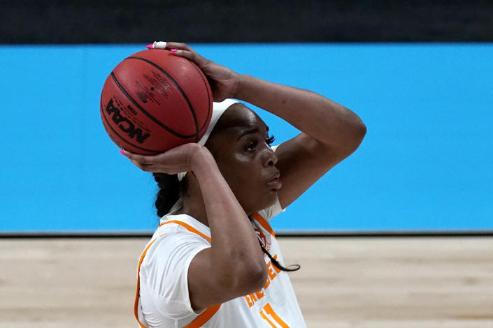 Tennessee center Kasiyahna Kushkituah shoots during the first half of a college basketball game against Michigan in the second round of the women's NCAA tournament at the Alamodome in San Antonio, Tuesday, March 23, 2021. (AP Photo/Charlie Riedel)