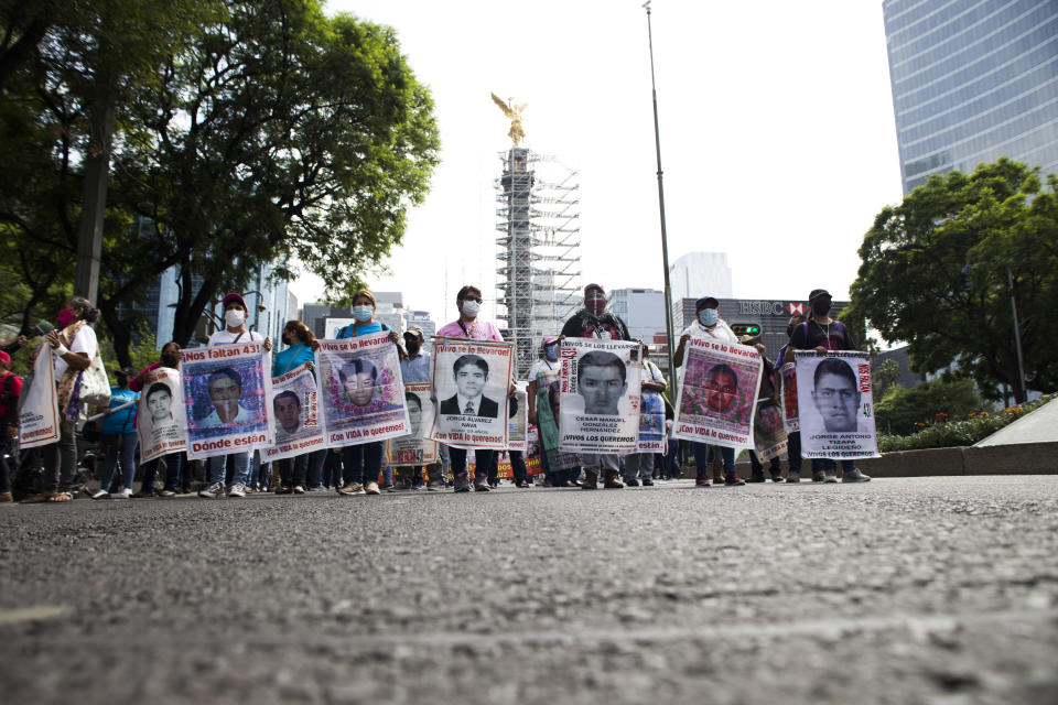 Parents of the 43 students from the Ayotzinapa normal school, who disappeared in Iguala six years and eight months ago, called for a demonstration after another month without a solution to the case of their children. On this occasion, they also demanded an end to the repression against the students of the Mactumatzá Teachers' School in the state of Chiapas and the release of the 19 students who are still detained.  On May 26, 2021 in Mexico City, Mexico. (Photo by Cristian Leyva/NurPhoto via Getty Images)