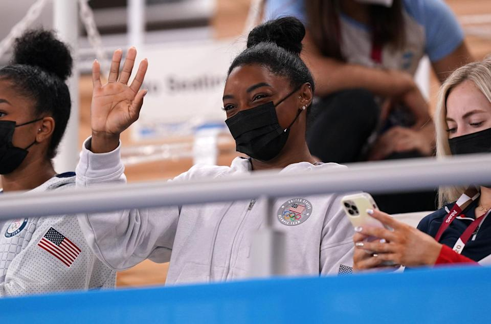 Biles watched on from the stands on Thursday (PA)