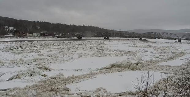 An ice jam along the St. John River in Perth-Andover. (Village of Perth-Andover - image credit)