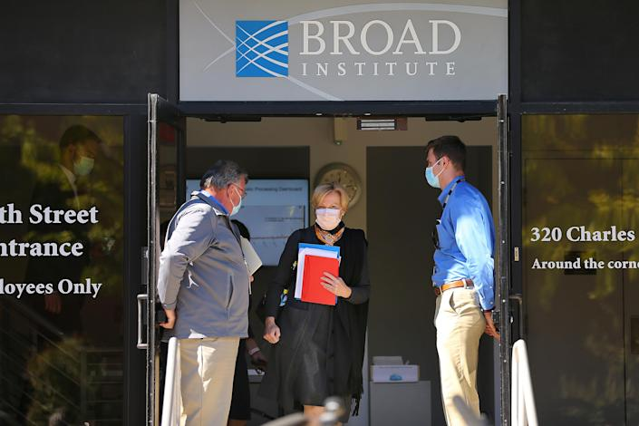 CAMBRIDGE, MA - OCTOBER 9: Dr. Deborah Birx walks to speak to the media outside the Broad Institute in Cambridge, MA on Oct. 9, 2020. In a visit to the high-capacity COVID-19 testing facility on Friday morning, Dr. Deborah Birx of the White House coronavirus task force warned that the rising number of cases in the Northeast is likely being fueled by asymptomatic spread at small gatherings of family and friends. (Photo by John Tlumacki/The Boston Globe via Getty Images)