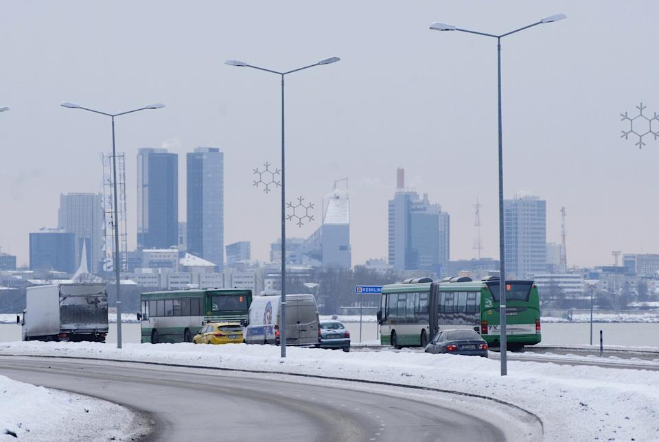 Buses driving across Tallinn, Estonia. On Jan. 1, 2013, the city became the first capital in the European Union to give its residents free public transport. (Photo: RAIGO PAJULA/AFP via Getty Images)