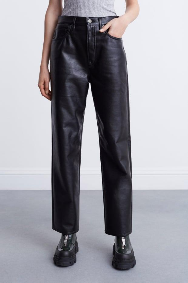 """<p>Agolde Recycled Leather 90s Pinch Waist, $298, <a href=""""https://rstyle.me/+oqcnAUQeQg72OHGGBbEgpw"""" rel=""""nofollow noopener"""" target=""""_blank"""" data-ylk=""""slk:available here"""" class=""""link rapid-noclick-resp"""">available here</a> (sizes 23-31).</p>"""