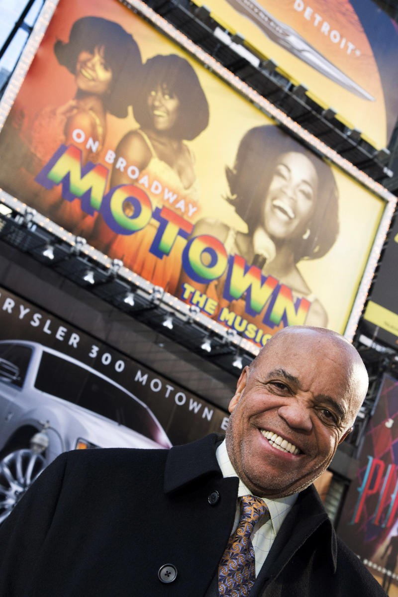 """This March 5, 2013 photo shows Berry Gordy posing for a portrait in Times Square in New York. For Berry Gordy, conquering Broadway is the next - and by his own admission, last - major milestone of a magical, musical career. The 83-year-old Motown Records founder is taking his story and that of his legendary label to the Great White Way. """"Motown: The Musical,"""" opens for previews Monday. (Photo by Charles Sykes/Invision/AP)"""