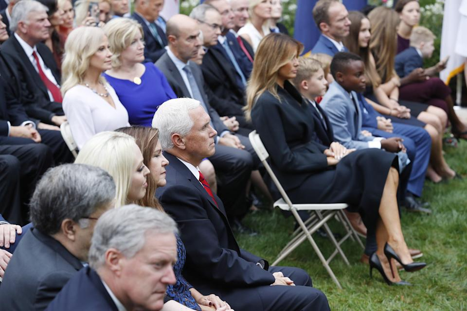 First lady Melania Trump at the White House superspreader event on 26 September (EPA)