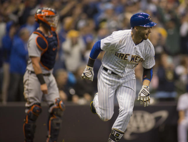 Milwaukee Brewers' Ryan Braun hits a two-run RBI double against the Detroit Tigers during the seventh inning of an baseball game Sunday, Sept. 30, 2018, in Milwaukee. (AP Photo/Darren Hauck)