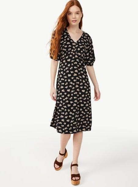 <p>Fall florals are everywhere right now. The <span>Free Assembly Women's V-Neck Midi Dress</span> ($36) will look just as good with sneakers as it will dressed up with heels.</p>