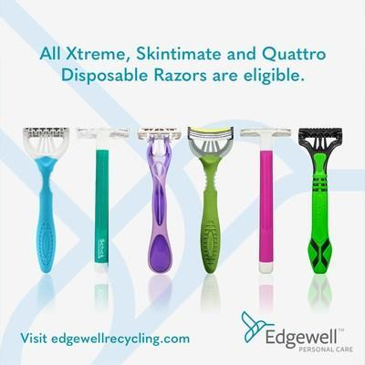 Edgewell Personal Care announced a new U.S. program to encourage the recycling of its disposable razors and to provide an alternative to curbside recycling programs, which typically do not accept razors. Through a third-party partner, all returned Xtreme®, Skintimate® and Quattro® disposable razors will be recycled into new products.