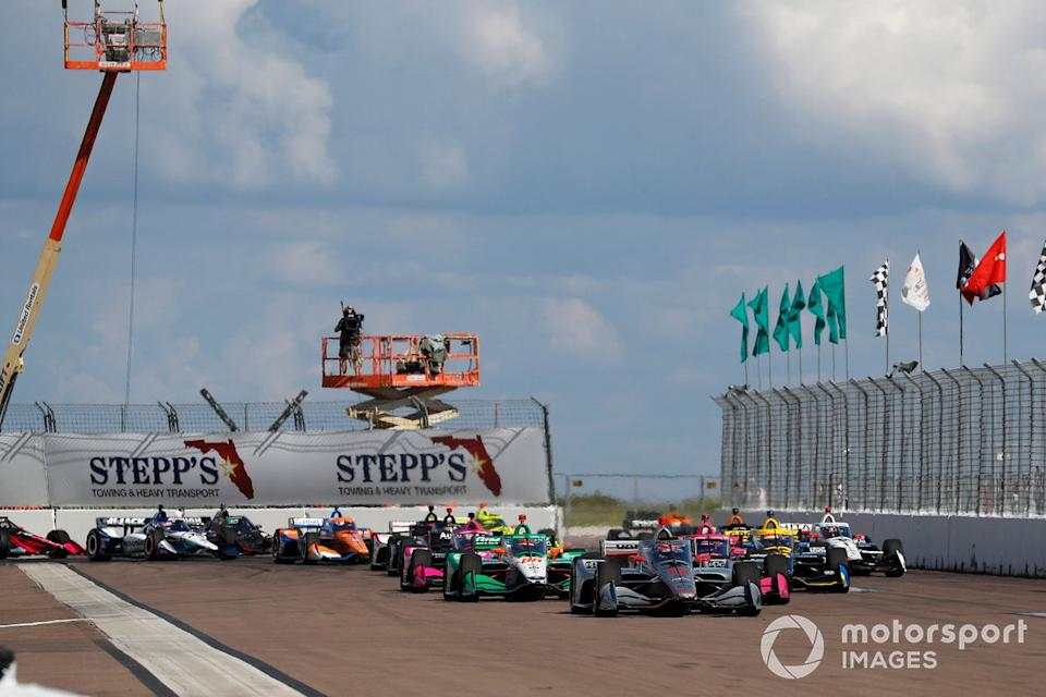 "Power's Penske-Chevrolet leads at the start of the 2020 finale. Roger Penske's first year in charge of the series was a year quite unlike any other, due to the pandemic. <span class=""copyright"">Michael L. Levitt / Motorsport Images</span>"