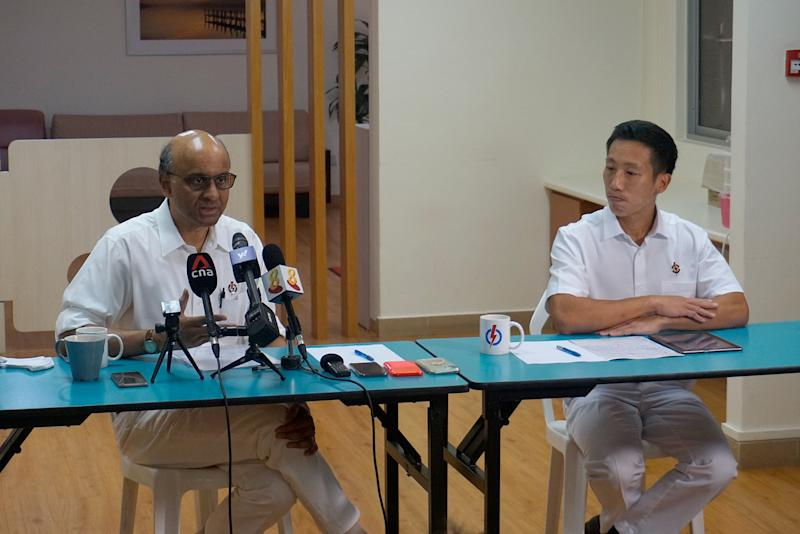Senior Minister Tharman Shanmugaratnam (left) spoke highly of fellow PAP member and Jurong GRC election candidate Xie Yao Quan (right) when introducing the latter at a media doorstop on Monday (29 June). (PHOTO: Dhany Osman / Yahoo News Singapore)