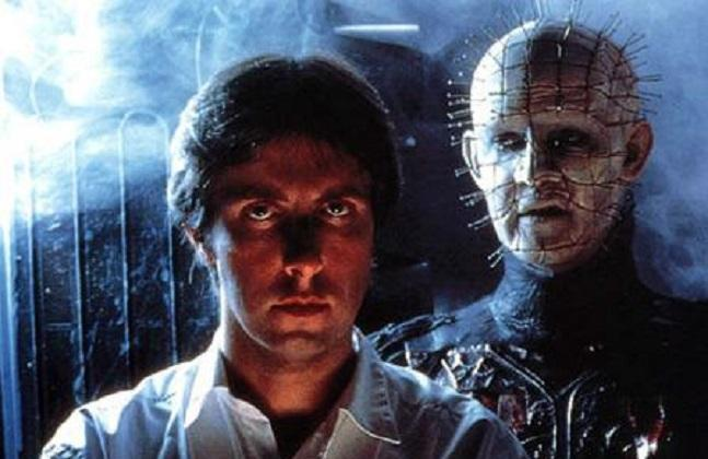Clive Barker with actor Doug Bradley on the set of 1987's 'Hellraiser' (credit: Anchor Bay Entertainment)