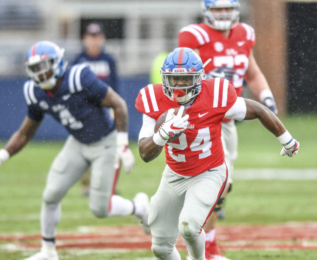 Cold and wet conditions plagued Ole Miss' spring game last week. With more bad weather on the way, many other schools have canceled their spring games,  (Bruce Newman/The Oxford Eagle via AP)