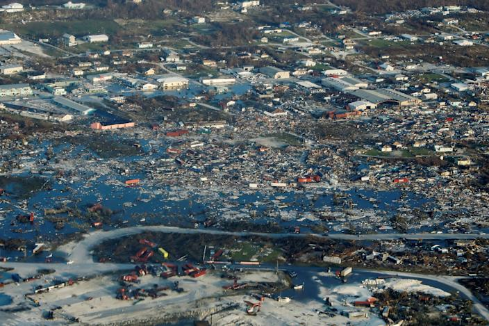 An aerial view shows devastation after hurricane Dorian hit the Abaco Islands in the Bahamas, Sept. 4, 2019. (Photo: Marco Bello/Reuters)