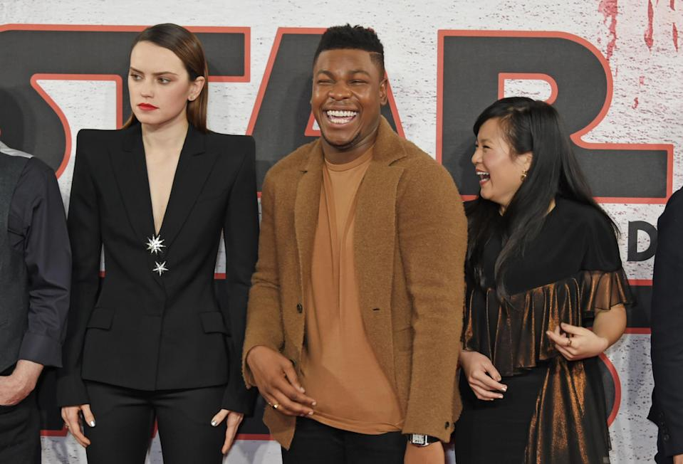 <i>Stars Wars: The Last Jedi</i> co-stars Daisy Ridley, John Boyega, and Kelly Marie Tran. (Photo: David M. Benett/Dave Benett/WireImage)