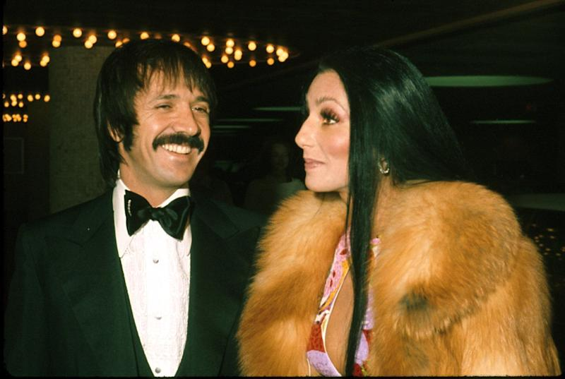 LOS ANGELES - AUGUST 1972: Entertainers Sonny Bono & Cher attend an event in August 1972 in Los Angeles, California. (Photo by Michael Ochs Archives/Getty Images)