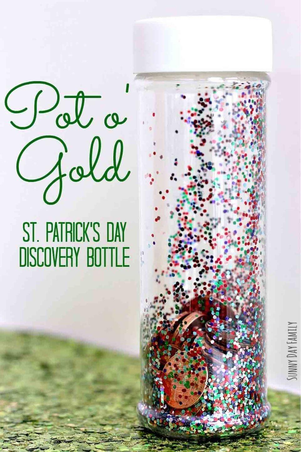 """<p>Turn a bottle of glitter into a sensory <a href=""""https://www.womansday.com/life/a4698/5-unique-ways-to-celebrate-st-patricks-day-104555/"""" rel=""""nofollow noopener"""" target=""""_blank"""" data-ylk=""""slk:activity for your younger children"""" class=""""link rapid-noclick-resp"""">activity for your younger children</a>.</p><p><em>Get the tutorial at <a href=""""http://www.sunnydayfamily.com/2016/02/pot-of-gold-bottle.html"""" rel=""""nofollow noopener"""" target=""""_blank"""" data-ylk=""""slk:Sunny Day Family"""" class=""""link rapid-noclick-resp"""">Sunny Day Family</a>.</em> </p>"""