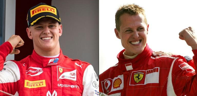 Famous footsteps: Mick Schumacher (L) will be following his father, Formula One legend Michael Schumacher (R), when the new season starts Sunday in Bahrain