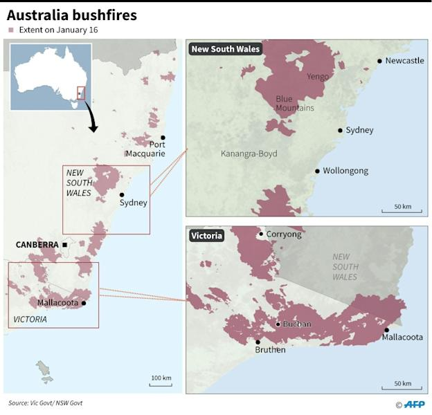 Maps showing the extent of bushfires in Australia's Victoria and New South Wales states on January 16