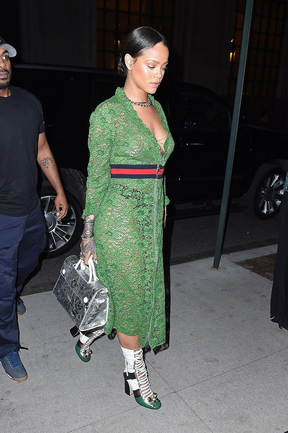 <p>In a sheer Gucci dress and boots, out in New York City</p>