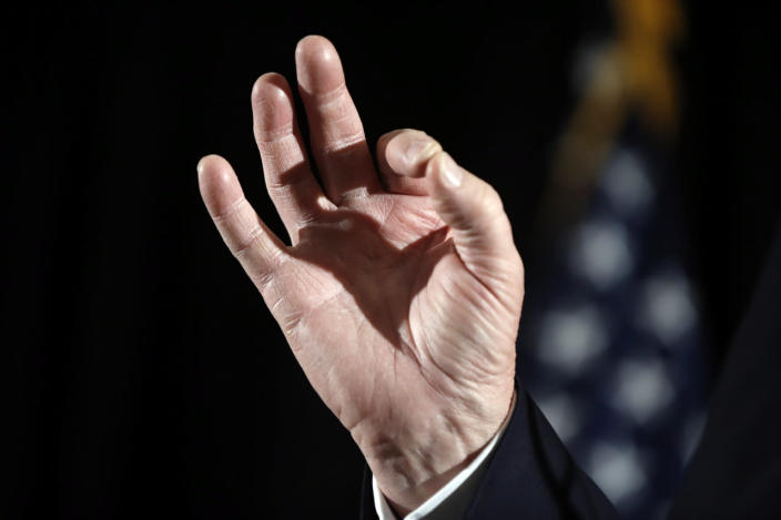 <p>Republican presidential candidate Donald Trump gestures as he speaks with members of the media during a news conference Tuesday, Feb. 2, 2016, in Milford, N.H. <i>(Photo: Matt Rourke/AP)</i></p>