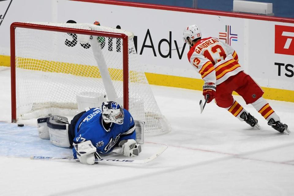 Gaudreau Extends Point Streak To 8 Games Adds Shootout Winner As Flames Down Jets