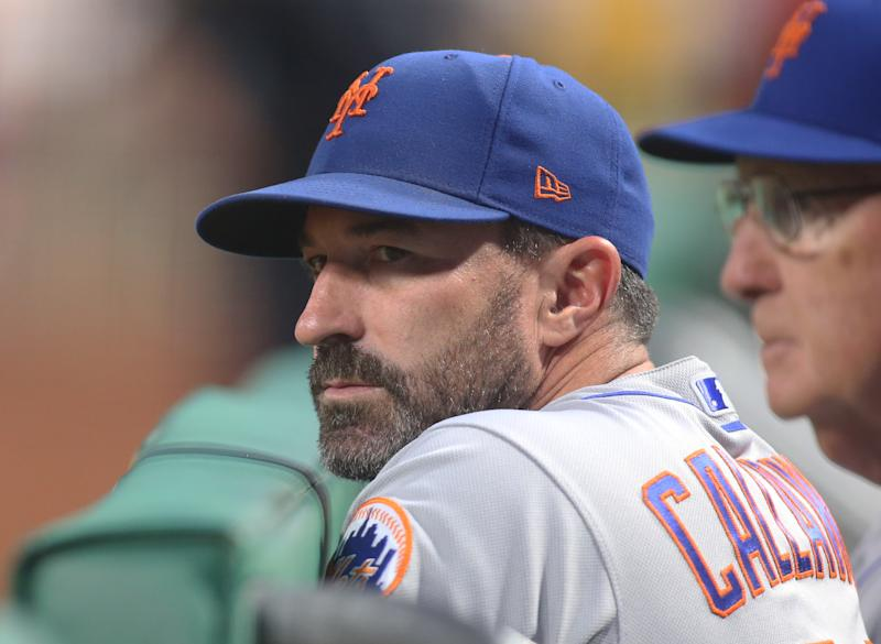Aug 2, 2019; Pittsburgh, PA, USA; New York Mets manager Mickey Callaway (36) looks on from the dugout against the Pittsburgh Pirates during the fifth inning at PNC Park. Mandatory Credit: Charles LeClaire-USA TODAY Sports