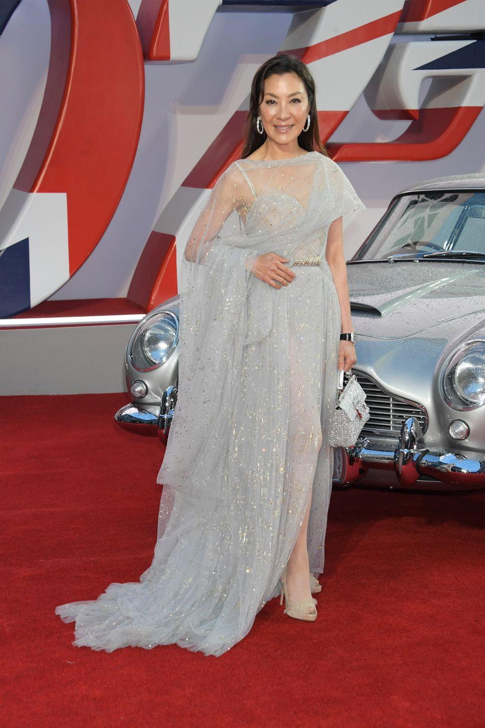 <p>Michelle Yeoh arrived wearing an ice blue Elie Saab gown. </p>